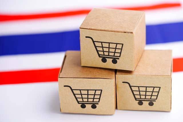Box with shopping cart logo and Thailand flag : Import Export Shopping online or eCommerce finance delivery service store product shipping, trade, supplier concept.